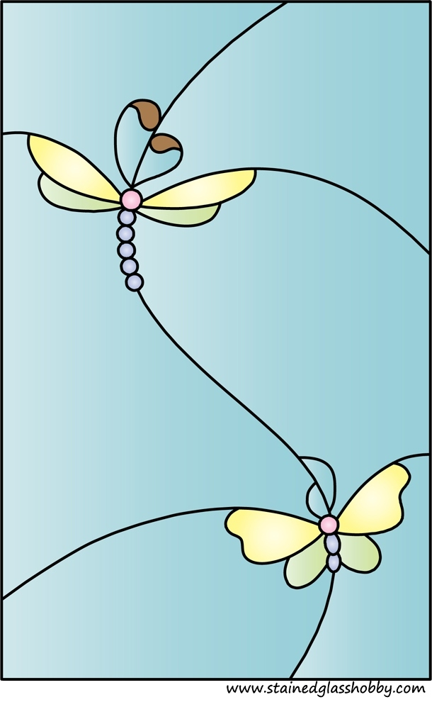 Butterflies stained glass design