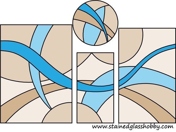 4 shapes stained glass design