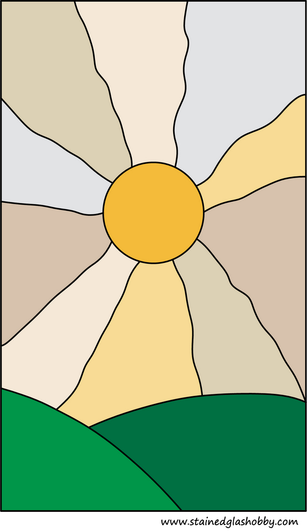 Sunset sunrise stained glass free pattern