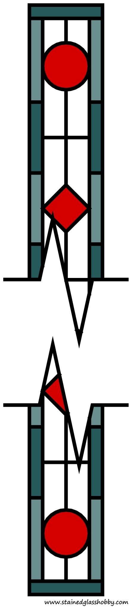 Variable length pattern for stained glass panels