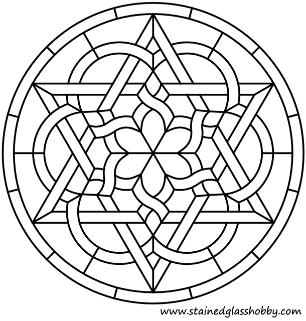 Celtic Stained Glass Coloring Pages Star Knot Round Panel