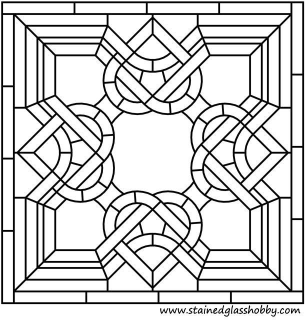 Celtic Stained Glass Coloring Pages Square Panel