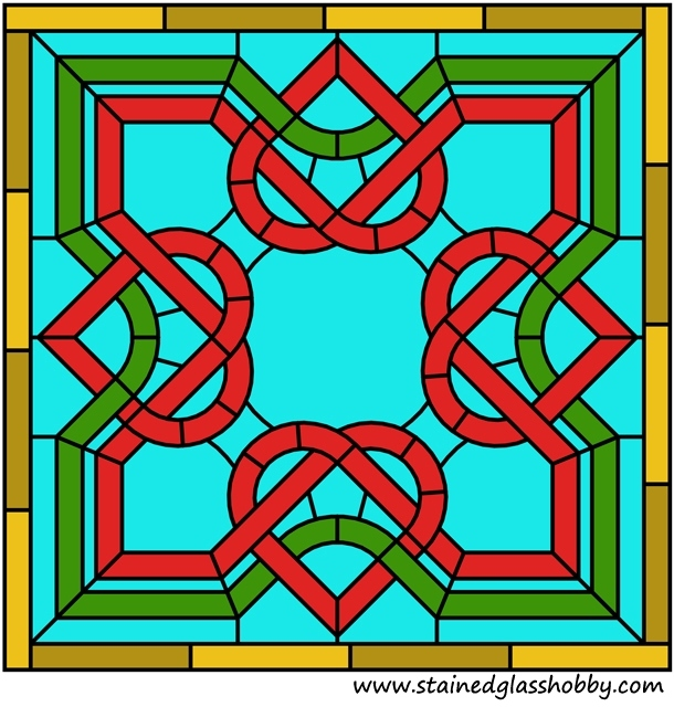 Celtic square stained glass panel