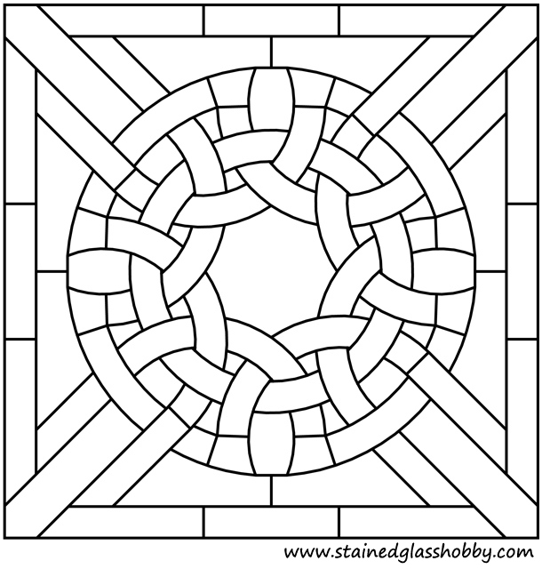 Square panel Celtic stained glass design