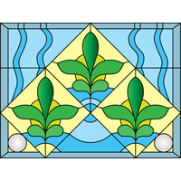 abstract floral free stained glass