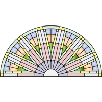 Round door arch panel kaleidoscope stained glass pattern
