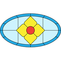 Diamond oval stained glass