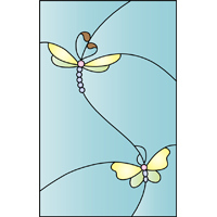 Butterflies design stained glass