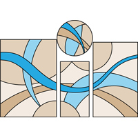 4 piece pattern stained glass