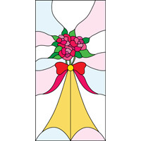 Stained glass pattern with flowers and bow