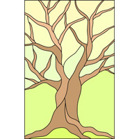 Autumn tree stained glass design