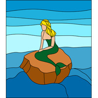 Mermaid near sea stained glass design