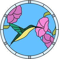 Hummingbird stained glass design