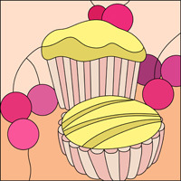 Muffin and cupcake stained glass design