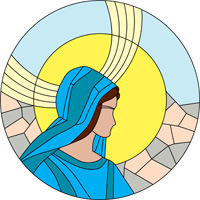 Holy Mary stained glass round pattern