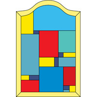 Colourful stained glass design squarish layout with top arch