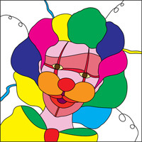 colourful clown stained glass design