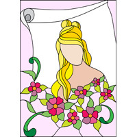 Woman with flowers stained glass pattern