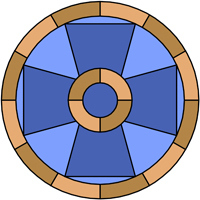 Cross pattern for stained glass windows and door panels