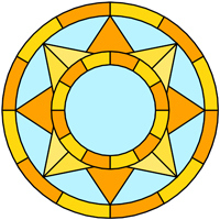Sun round panel stained glass design