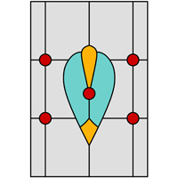 Oriental window stained glass design