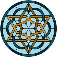 Star Celtic knot round panel pattern