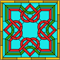 Celtic square design stained glass panel