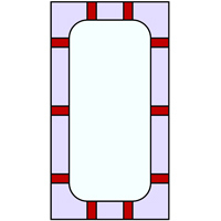 Rectangular frame stained glass pattern